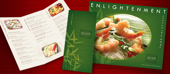 Asian Restaurant Menu, Poster, and Stationery Designs
