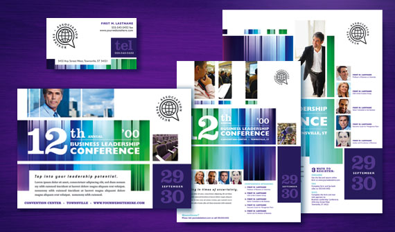 Business Leadership Conference Brochure, Postcard, Poster, Flyer & Ads, and Stationery Designs