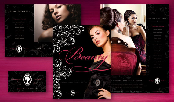 Formal Fashions & Jewelry Brochure, Poster, Flyer & Ads, and Stationery Designs