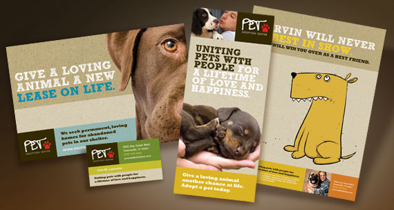 Animal Shelter & Pet Adoption Brochure, Postcard, Newsletter, Poster, Stationery and Flyer & Ads Designs