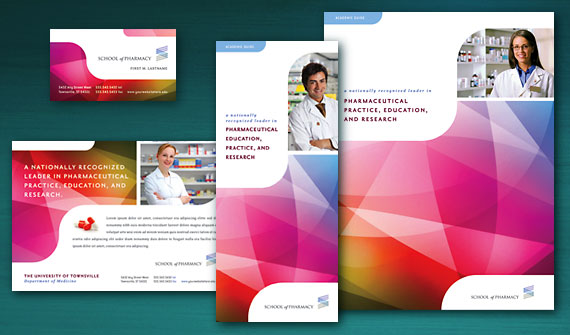 Promote a pharmacist or pharmacy school with a dose of for Attractive brochure designs