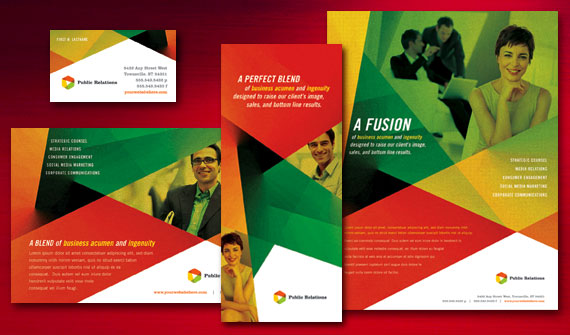 Public Relations Brochure, Flyer & Ads, Datasheet, Tri-Fold Brochure, and Stationery Designs