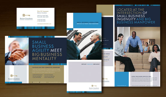 Small Business Consulting Brochure, Newsletter, Stationery, Flyer & Ads, and Tri Fold Brochure Designs