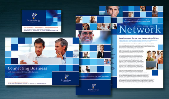 Technology Consulting Brochure, Postcard, Newsletter, Flyer & Ads, Datasheet, and Stationery Designs