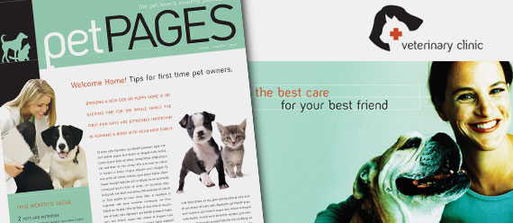 Veterinary Office Brochure, Postcard, Newsletter, and Stationery Designs