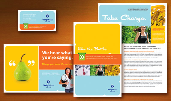 Weight Loss Clinic Brochure, Postcard, Flyer & Ads, Poster, Datasheet, and Stationery Designs