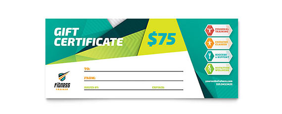 fitness gift certificate design