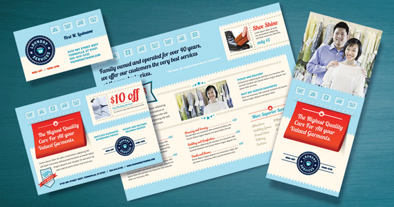 Laundry Services Brochure, Flyer, Postcard Designs
