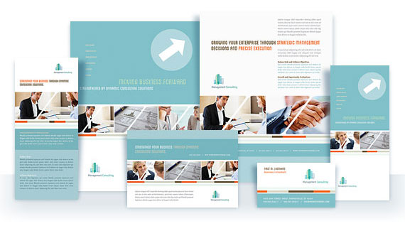 materials for a management consulting business with graphic design
