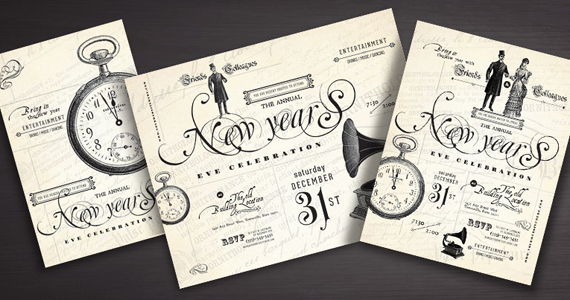 New Year s Party Flyer  Poster  Invitation DesignsVintage Graphic Design Ideas