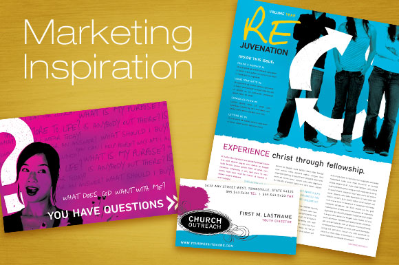 Church & Outreach Ministry Marketing - Brochure, Newsletter and Postcard Templates