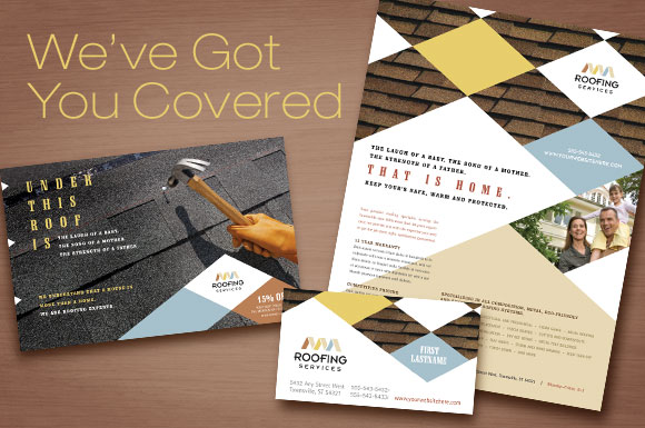 Roofing Contractor Marketing Materials - Brochure, Flyer, Ads, and Postcard Templates