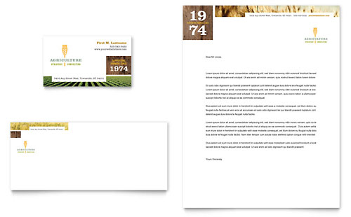 Farming & Agriculture Business Card & Letterhead Template Design