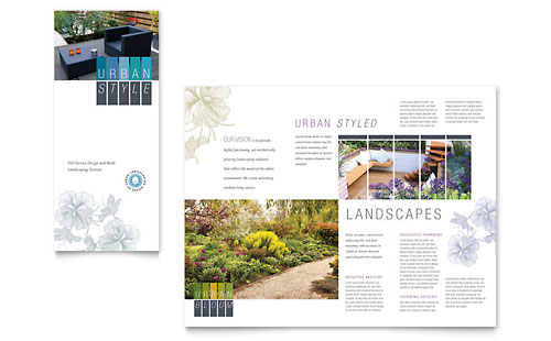 Urban Landscaping Tri Fold Brochure Template Design