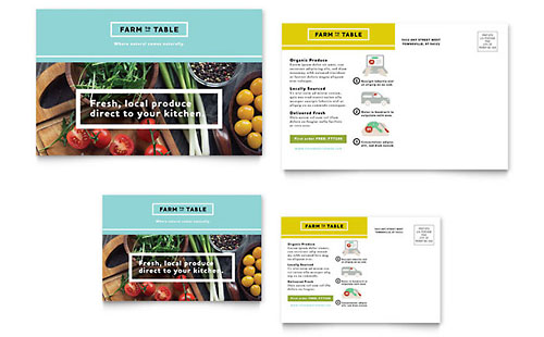 Organic Food Postcard Template Design