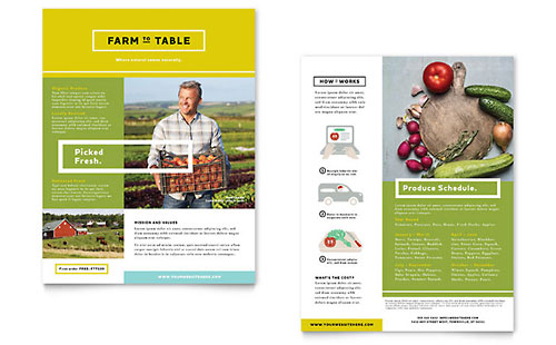 Organic Food Datasheet Template Design