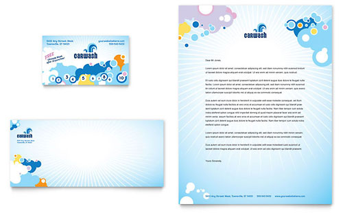 Car Wash Business Card & Letterhead Template Design