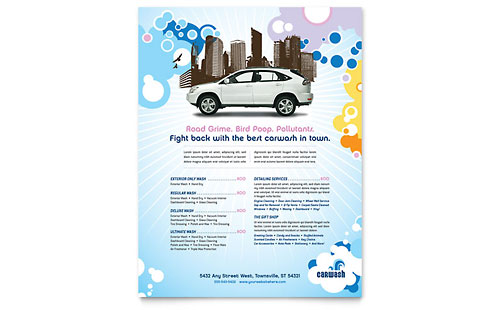 Car Wash Flyer Template Design