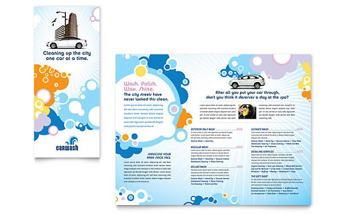 Car Wash Tri Fold Brochure Template Design