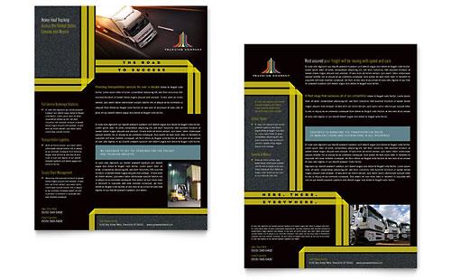trucking  u0026 transport tri fold brochure template design