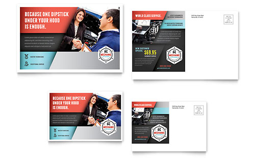 Auto Mechanic Postcard Template Design
