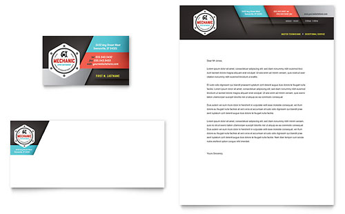 Auto Mechanic Business Card & Letterhead Template Design