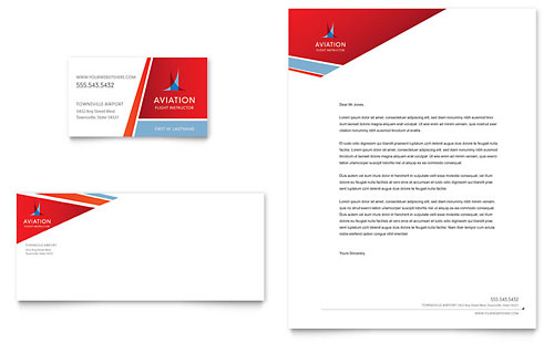 Aviation Flight Instructor Business Card & Letterhead Template Design