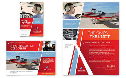 Aviation Flight Instructor Flyer & Ad Template Design