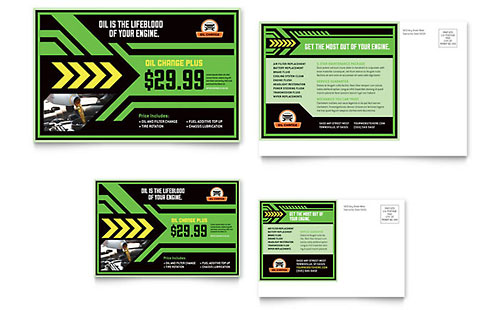 Oil Change Postcard Template Design