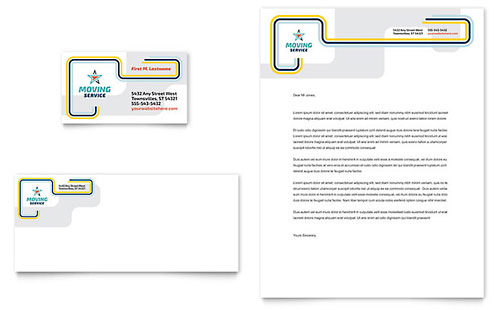 Moving Service Business Card & Letterhead Template Design