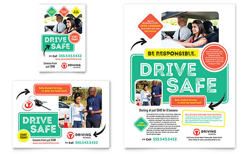 Driving School Flyer & Ad Template Design