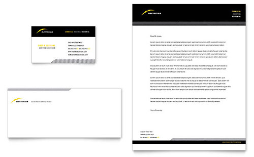 Electrician Business Card & Letterhead Design Template