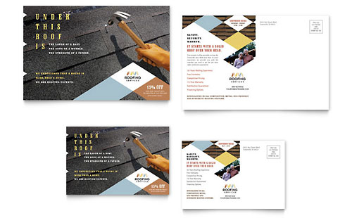 Roofing Contractor Postcard Template Design