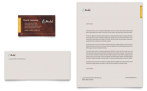 Home Remodeling Business Card & Letterhead Template Design