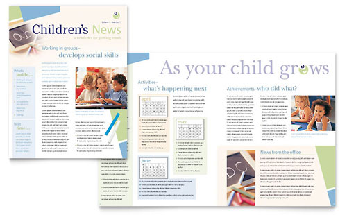 Child Care & Preschool Newsletter Template Design