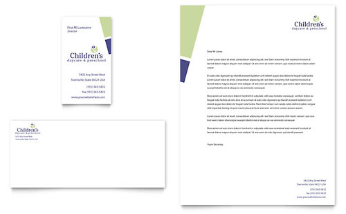 Child Care & Preschool Business Card & Letterhead Template Design