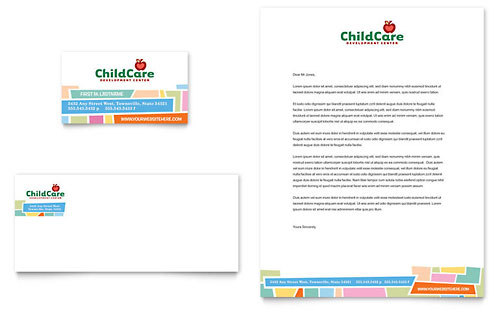 Preschool Kids & Day Care - Business Card & Letterhead Template Design