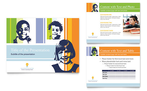 Learning Center & Elementary School PowerPoint Presentation Template Design