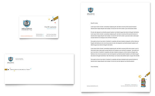 Education Foundation & School Business Card & Letterhead Template Design