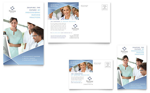 Nursing School Hospital Postcard Template Design