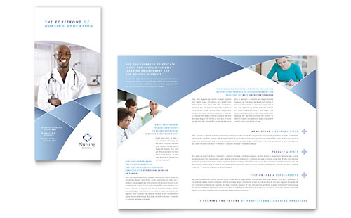 Nursing School Hospital Tri Fold Brochure Template Design