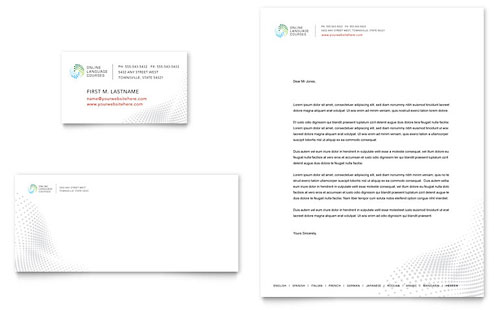 Language Learning - Business Card & Letterhead Template Design