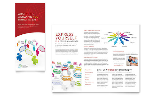 Language Learning - Tri Fold Brochure Template Design