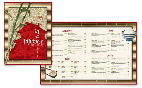 Japanese Restaurant Menu Template Design – Sample Menu Template