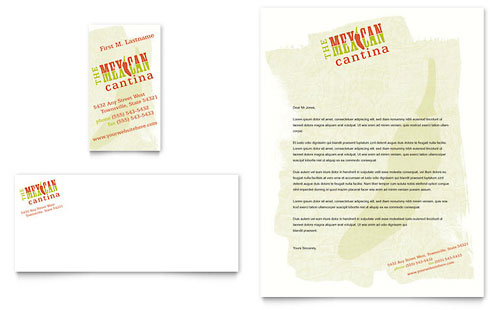 Mexican restaurant business card letterhead template design for Restaurant letterhead templates free