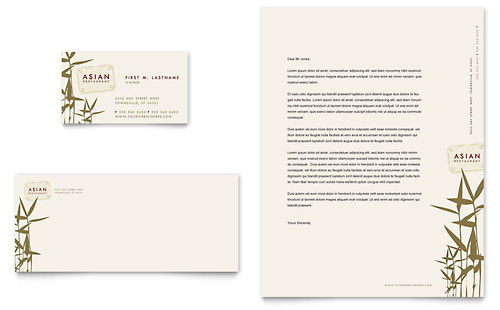 Asian Restaurant Business Card & Letterhead Template Design