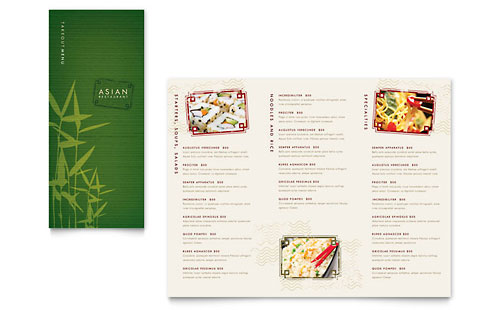 Asian Restaurant - Take-out Brochure Template Design