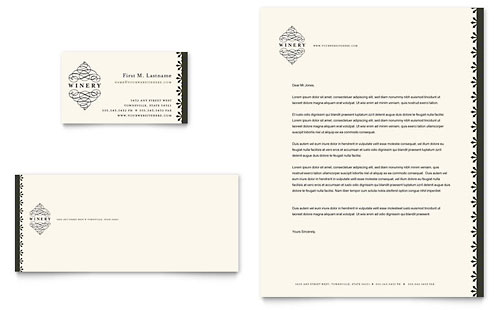 Vineyard & Winery Business Card & Letterhead Template Design
