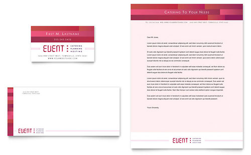 Corporate Event Planner & Caterer Business Card & Letterhead Template Design
