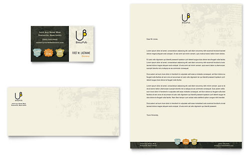 Brewery & Brew Pub Business Card & Letterhead Template Design